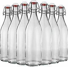 12er Set Glasflasche mit Bügelverschluss aus Glas