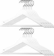 12er Set Kinder Kleiderbügel - Holz / Metall, weiß, 32 x 20 cm (BxH), drehbare Haken, mit Hosensteg und Einkerbung für Kleider und Träger