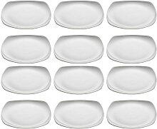 12er SET Kuchenteller CASHMERE SQUARE 18,5cm weiß eckig Maxwell & Williams (110,50 EUR / Stück)