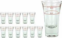 12er Set Schnapsglas DUBLINO mit Eichstrich, 2 cl