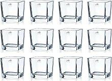 12er SET Teelichtgläser CUBE H. 10cm 10x10cm Glas