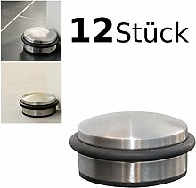 12er Set Türstopper flach ca. 10x4cm Türpuffer Tür Stopper Halter Puffer Edelstahl-Design - 12 Stück