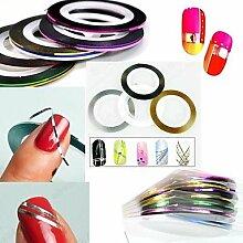 12PCS 12-Farben-Striping Tape Line Streifen Klebe Nagel Nageldesign Dekoration Aufkleber