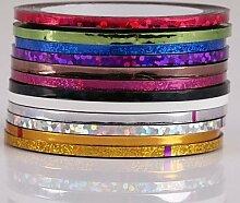 12PCS 2MM erweitern Mixs Farbe Striping Tape Line Streifen Klebe Nagel Nailart Dekoration Aufkleber 7.5X5X2 cm