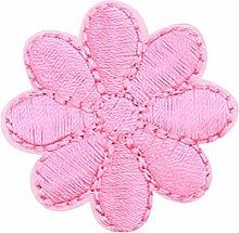 12PCS stickte Gewebe-Flecken-Aufkleber-Eisen nähen auf Applique [Blumen-Rosa]