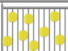 12tlg. Balkon-Dekoration Set - Balkonverkleidung - Garten Deko - Balkon-Deko mit Modellauswahl (Blume Gelb)