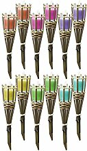 12tlg. Set Bambusfackel mit Zitronenöl Duftkerze im Glas Fackel je Ø6,5cm Windlicht Gartenfackel