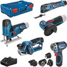 12V Akku Werkzeug Set 5tlg. GSR+GOP+GHO+GWS+GST |3