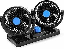 12V Elektrische Auto-Ventilator 360 Grad drehbare 2 Geschwindigkeits-Doppelkopf-Auto-Selbstkühlung-Luftzirkulator-Ventilator für Van SUV RV-Boots-Selbstfahrzeuge Golf