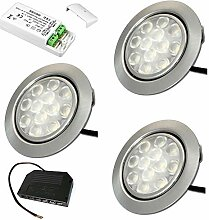 12V Möbeleinbauleuchten LED flach 3 x 3W