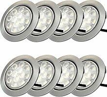 12V Möbeleinbauleuchten LED flach 8 x 3W