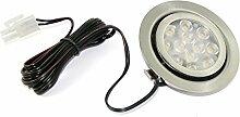 12Volt Flache LED Möbelleuchte 20° schwenkbar Möbeleinbaustrahler 3W High SMD LED / Inge wamweiss oder kaltweiss, inkl. Anschlusskabel und AMP Stecker (warmweiss)