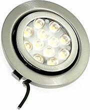12Volt Flache LED Möbelleuchte 20° schwenkbar Möbeleinbaustrahler 3W High SMD LED / Inge wamweiss oder kaltweiss, inkl. Anschlusskabel und AMP Stecker (kaltweiss)