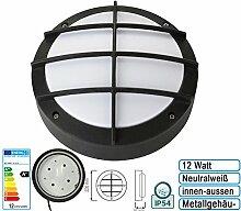 12w Hochwertige LED Feuchtraumleuchte Kellerleuchte Wandleuchte Wandlampe IP54 für innen und Aussen Rund mit Schutzgitter Neutralweiss