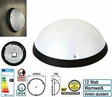 12W LED Deckenlampe Wandlampe Flurlampe mit Bewegunsmelder 360° sensor IP54 für innen und Außen Rahmen schwarz rahmen Warmweiß