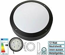12w LED Wandlampe Flurlampe Feuchtraumleuchte Kellerleuchte Wandleuchte IP54 für innen und Außen Rund Neutralweiss