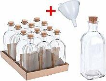 12x Apotheker Glas Flaschen 500ml inkl. Trichter