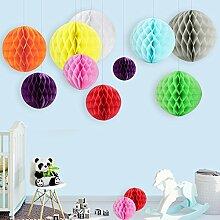 12x Wabenbälle Mini Honeycomb Ball Pompoms Papier Dekoration Partydekoration für Hochzeit Baby Shower Geburtstag - 9 Farbe