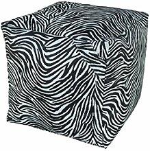 13 CASA Pouf Zebra weiß/schwarz
