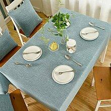 130* 220cm hellblau massives Skandinavisches minimalistisch Japanische Instagram Esstisch Tuch Baumwolle Leinen Garten Picknick quadratisch, rechteckig Umweltfreundlich,