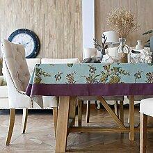 130x 130cm violett blau geblümt Rustikal europäischen Instagram Esstisch Tuch Baumwolle Leinen Garten Picknick quadratisch, rechteckig Umweltfreundlich,