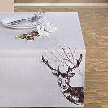 130x170 creme ecru Tischdecke Weihnachten Hirsch Weihnachtstischdecke Weihnachtsdeko rechteckig cream DEER 2