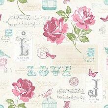 133501 - Sonett Handschrift Rosa Musical Notes Wallpaper