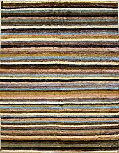 135x188 Gabbeh Area Rug with Wool Pile - Gabbeh Design | 100% Original Hand-Knotted Multicolored | a 137 x 213 Rectangular Rug