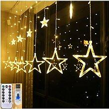 138 LED 12 Sterne-Fenster-Vorhang-Schnur-Licht mit
