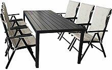 13tlg. Gartenmöbel Set Gartentisch, Polywood Tischplatte, 205x90cm + 6x Hochlehner, Textilenbespannung, 7 Positionen, klappbar + 6x Stuhlauflage, beige Terrassenmöbel Sitzgruppe Sitzgarnitur Gartengarnitur