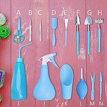 14 Stück Mini Gartengeräte Garten Werkzeug Set, Mini Garten Kleingeräte für Pflanzen Sukkulenten und Blumen. (Blau)