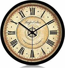 14 Zoll Retro hängende Uhr Metallgehäuse Glas Spiegel stumme Wanduhren