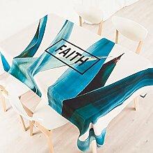 140*100cmbeige blau Türkis Skandinavisch modern Instagram Tischdecken Baumwolle leinen Picknick Esstisch rechteckigen quadrat nicht bügeln umweltfreundlich Tischtuch