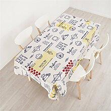 140*140cm beige blau Gekritzel PopArt Instagram Tischdecken Baumwolle leinen Esstisch Rezeption rechteckigen quadrat nicht bügeln umweltfreundlich Tischtuch