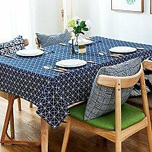 140* 180cm navy blau Geometrische skandinavischen modernes Instagram Esstisch Tuch Baumwolle Leinen Garten Picknick quadratisch, rechteckig Umweltfreundlich,