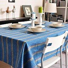 140*200cm blau Gestreift nordisch Mittelmeer Instagram Tischdecken Baumwolle leinen Picknick Esstisch rechteckigen quadrat nicht bügeln umweltfreundlich Tischtuch