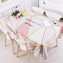 140*200cm Rosa beige Geometrisch Instagram Tischdecken Baumwolle leinen Esstisch Rezeption rechteckigen quadrat nicht bügeln umweltfreundlich Tischtuch