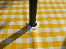 140x 140Tischdecke, PVC/Vinyl, quadratisch, gelb Gingham mit Sonnenschirm Loch