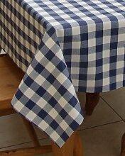 140x 250cm Tischdecke aus PVC/Vinyl, rechteckig–blau gingham–8-Sitzer