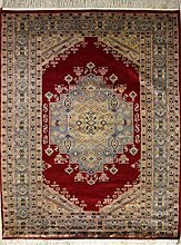 140x185 Pak Persian Area Rug with Wool Pile - Medallion Design | 100% Original Hand-Knotted in Red,Grey,Gold colors | a 137 x 213 Rectangular Rug
