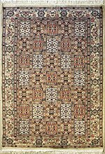 140x201 Pak Persian Area Rug with Silk & Wool Pile - Bakhtiari Design | 100% Original Hand-Knotted in Ivory,Orange,Beige colors | a 137 x 213 Rectangular Rug