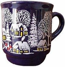 144 Stück Glühweinbecher 0,2 Liter Weihnachtsbecher kobaldblau mit Füllstrich