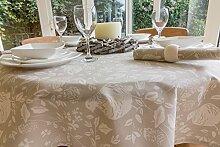 149,9cm Durchmesser Weihnachten creme & Light Taupe Runde Tischdecke mit Partridge Design (4-Sitzer)