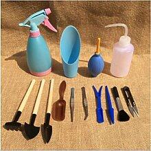 14Pcs Mini Gartenarbeit Handwerkzeuge Set, Pathonor Pflanzen Bewässerung Flaschen Verpflanzung Miniature Garten Pflanzung Hand Tools Set Include Pruner, Mini Rake, Wasser Flasche und Schaufeln