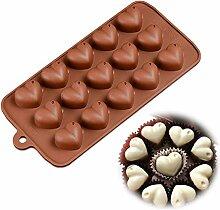 15Hohlraum, Herzform Schokolade Ice Cube Brot Puddingform Backen Dekorieren Werkzeuge