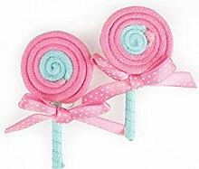 15 Lollis mit Schleife, Polyester , rosa ca. D:2,8cm/H:5,8cm