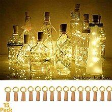15 Stück LED Flaschenlicht, flaschenlichterkette