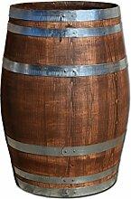 150 Liter Holzfas, neues Fass, Weinfas aus Kastanienholz geschlossen als Stehtisch, Bistrotisch (Fass palisanderfarben)