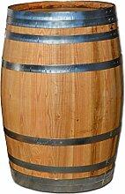 150 Liter Holzfas, neues Fass, Weinfas aus Kastanienholz geschlossen als Stehtisch, Bistrotisch (Fass geölt)