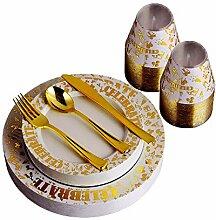150 Stück Goldteller & Kunststoffbecher mit